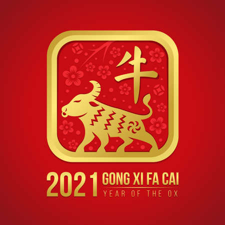 chinese new year concept with gold ox zodiac sign and china word mean ox in Square rounde corners on flower texture and red background