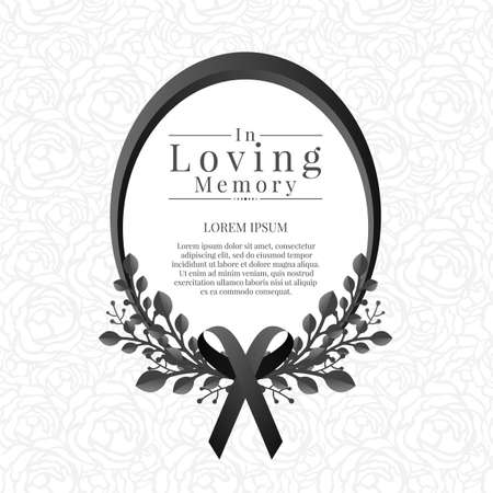 In loving memory text in Oval frame with leaf bouquets and black ribbon on abstract rose texture background 免版税图像 - 155042078