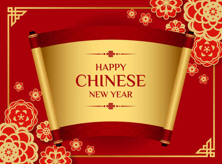 Happy chinese new year banner with traditional scroll of chinese on flower bloosom and red blackground vector design