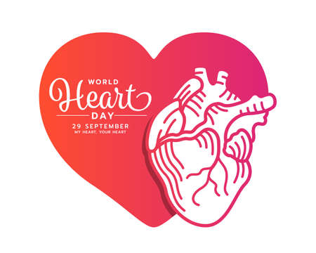 world heart day banner with Orange pink gradient human heart line drawing on heart sign vector design 免版税图像 - 155042135