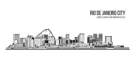 Cityscape Building Abstract shape and modern style art Vector design -  Rio de janeiro city (brazil) 免版税图像 - 155042143