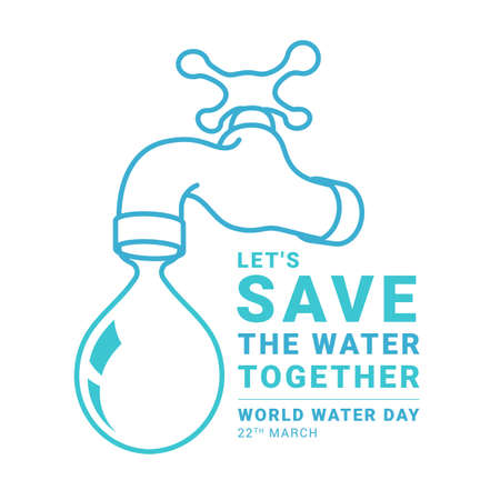 world water day banner - Let is save the water togetther slogan text and tap water with drop water vector design 免版税图像 - 155337215