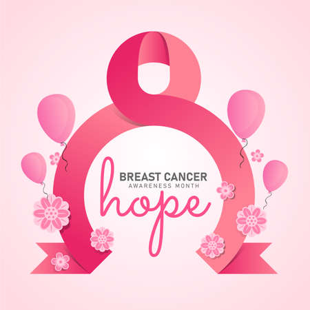 breast cancer awareness month banner with pink circle ribbon sign flower and balloon on soft pink background