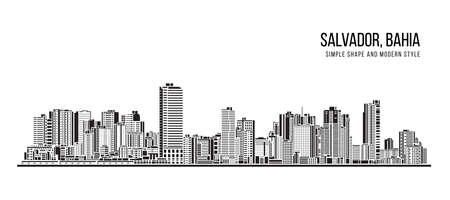 Cityscape Building Abstract shape and modern style art Vector design -  Salvador city , Bahia (brazil) 免版税图像 - 155337219