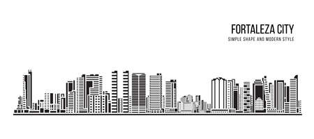 Cityscape Building Abstract shape and modern style art Vector design -  Fortaleza city (brazil)