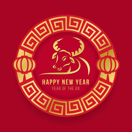 Happy chinese new year banner - gold line drawing ox zodiac in chinese circle frame and lantern on red background