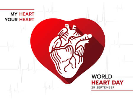 world heart day - white human heart in red heart sign on Heart Rhythm texture background 免版税图像 - 154892913