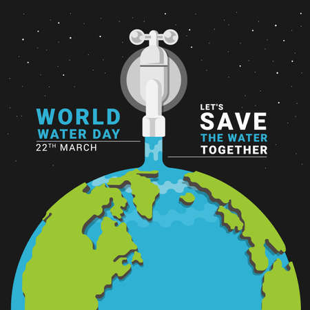 world water day - tap water with water fall on half globe vector design