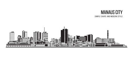Cityscape Building Abstract shape and modern style art Vector design -  Manaus city (brazil)