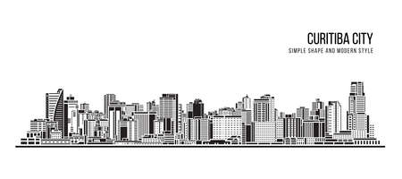 Cityscape Building Abstract shape and modern style art Vector design -  Curitiba city (brazil)