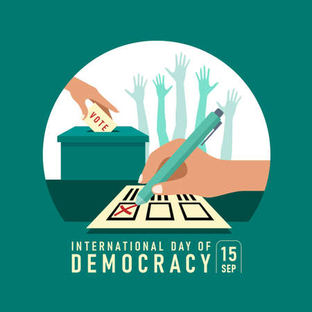 international day of democracy banner with Hand writing to vote cross on card and lowering the vote card and hands was raised sign