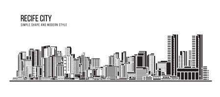 Cityscape Building Abstract shape and modern style art Vector design -  Recife city (brazil)