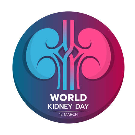 world kidney day banner with blue and pink kidney sign in circle background vector design