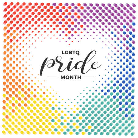 LGBTQ pride month banner text in abstract colorful circle bubble motion heart texture background