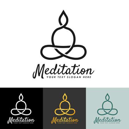 meditation logo , buddha logo with line simple style vector design