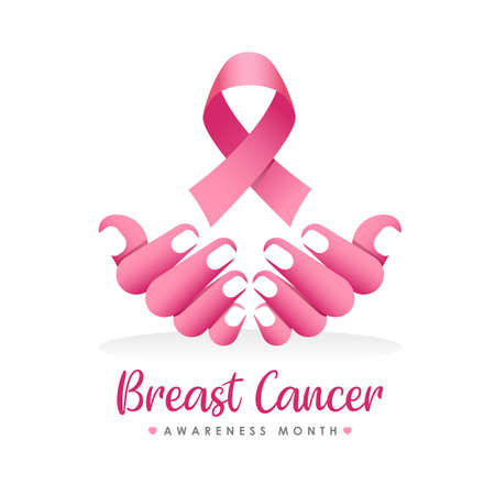 breast cancer awareness month banner with abstract pink hand holding ping ribbon sign vector design