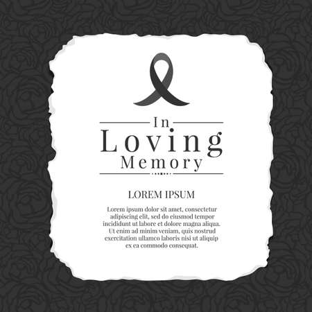 In loving memory text and black ribbon sign in White paper tear on abstract black rose texture background vector design