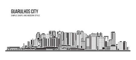 Cityscape Building Abstract shape and modern style art Vector design -   Guarulhos city (Brazil) 免版税图像 - 155730968