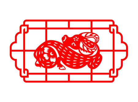 Red Chinese Zodiac Animals Papercutting Squat Ox cow in china frame 免版税图像 - 156229946