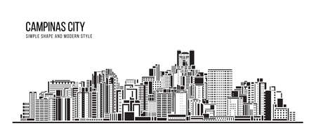 Cityscape Building Abstract shape and modern style art Vector design -  Campinas city (brazil) 矢量图像