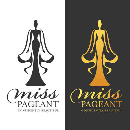 miss pageant sign - black and gold woman queen with cape vector design