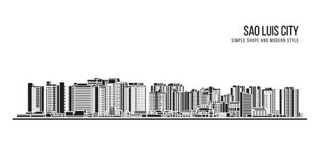 Cityscape Building Abstract shape and modern style art Vector design -  Sao Luis city (brazil) 免版税图像 - 155864799
