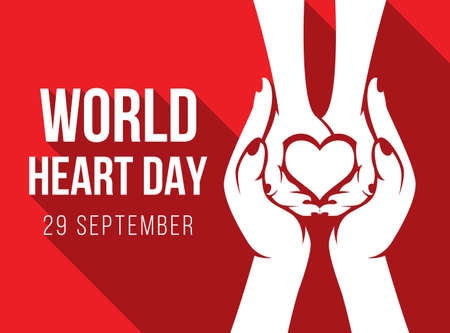 world heart day - white adult and child hands holding heart sign on red background vector design 免版税图像 - 156104072