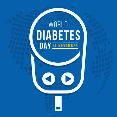 World diabetes day text in white line Blood Glucose Meter sign on blue globe texture background vector design