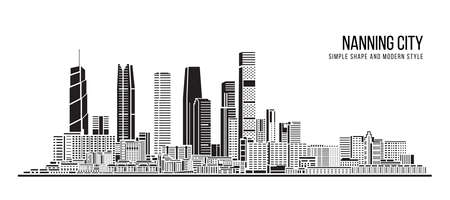 Cityscape Building Abstract shape and modern style art Vector design -  Nanning city