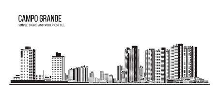 Cityscape Building Abstract shape and modern style art Vector design -  Campo Grande city