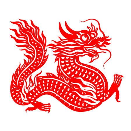 Chinese Zodiac Animals Papercutting Dragon chinese new year vector design