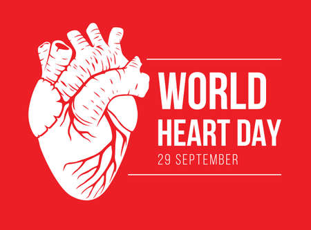 world heart day with white human heart sign on red background vector design
