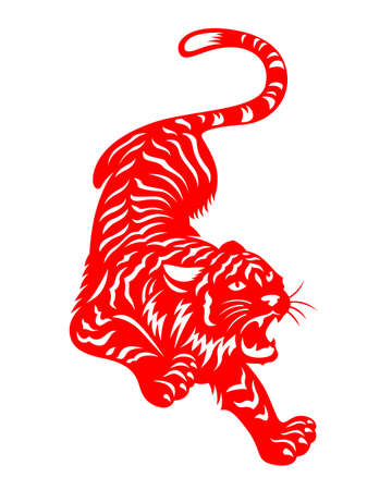 Chinese Zodiac Animals Red Papercutting tiger chinese new year vector design 矢量图像