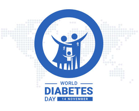 World diabetes day with blue family father, mother and son in circle ring on dot globe texture background vector design