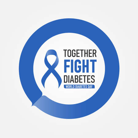 World diabetes day with together fight diabetes text and blue ribbon in blue circle ring vector