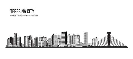 Cityscape Building Abstract shape and modern style art Vector design -  Teresina city (brazil) 免版税图像 - 156340157