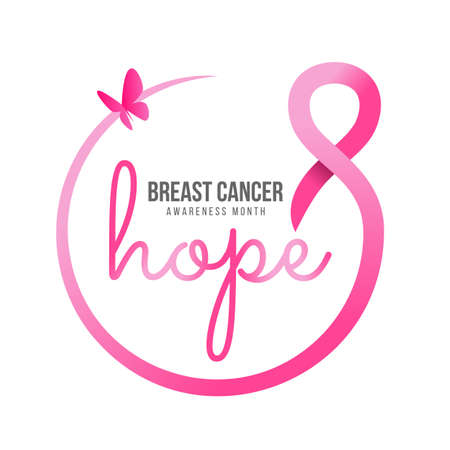 breast cancer awareness month - hope text in pink ribbon circle frame and butterfly banner vector design 免版税图像 - 156839486