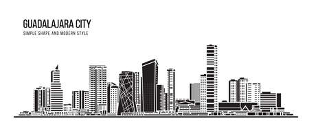 Cityscape Building Abstract shape and modern style art Vector design -  Guadalajara city