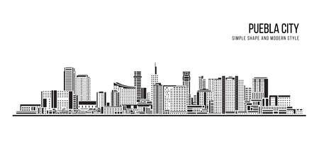 Cityscape Building Abstract shape and modern style art Vector design -  Puebla city 免版税图像 - 156633906