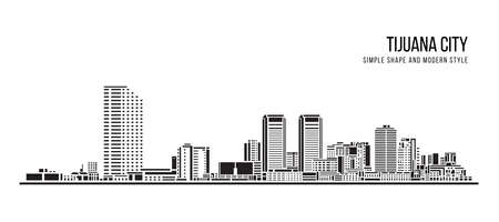 Cityscape Building Abstract shape and modern style art Vector design -  Tijuana city 免版税图像 - 156942832