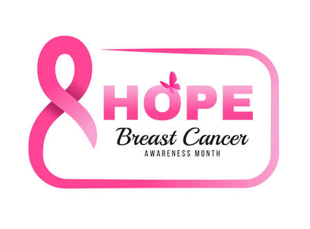 breast cancer awareness month - hope text in pink ribbon made around Rounded rectangle frame and butterfly banner vector design