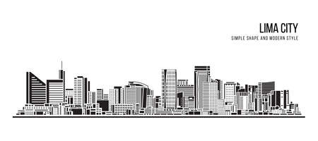 Cityscape Building Abstract shape and modern style art Vector design -  Lima city 일러스트