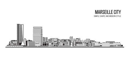 Cityscape Building Abstract shape and modern style art Vector design - Marseille city