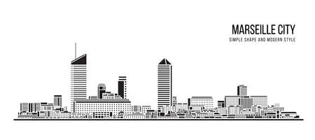 Cityscape Building Abstract shape and modern style art Vector design -  Lyon city 일러스트