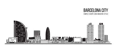Cityscape Building Abstract shape and modern style art Vector design -  Barcelona city 免版税图像 - 157032325