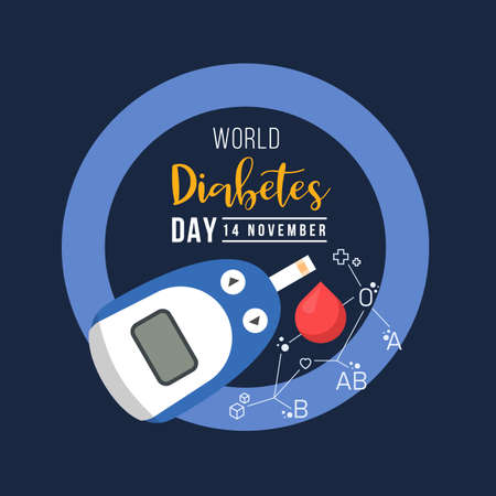 World diabetes day with Glucose testing blood and Blood type connect link around drop blood on blue ring circle Ilustración de vector