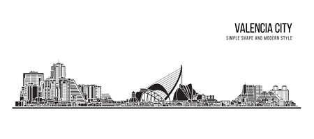 Cityscape Building Abstract shape and modern style art Vector design -   Valencia city 일러스트