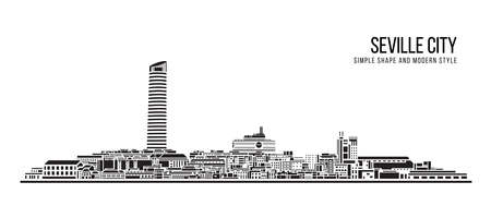 Cityscape Building Abstract shape and modern style art Vector design -  Seville city