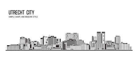 Cityscape Building Abstract shape and modern style art Vector design -  Utrecht city