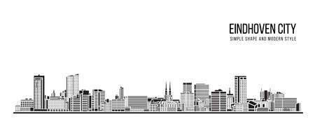 Cityscape Building Abstract shape and modern style art Vector design -  Eindhoven city 일러스트
